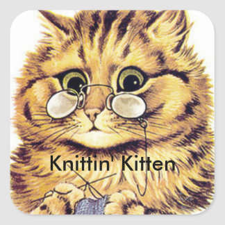 Knitting Cat Stickers titled KNITTIN' KITTEN