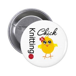 Knitting Chick 2 2 Inch Round Button