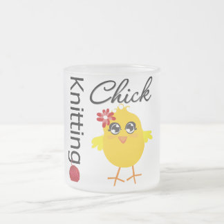Knitting Chick 2 10 Oz Frosted Glass Coffee Mug