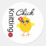 Knitting Chick 2 Stickers