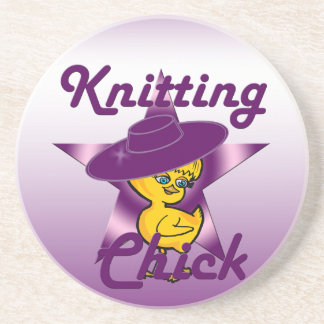 Knitting Chick #9 Sandstone Coaster