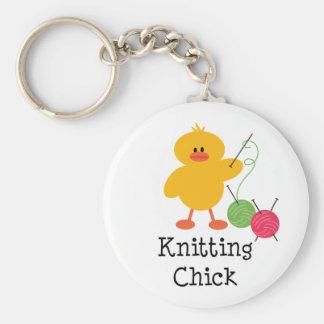 Knitting Chick Key Chain