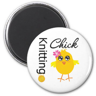 Knitting Chick 2 Inch Round Magnet
