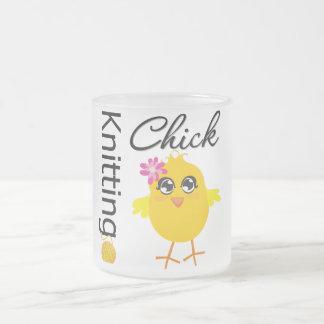 Knitting Chick 10 Oz Frosted Glass Coffee Mug