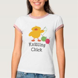 Knitting Chick Ringer Tee Shirt