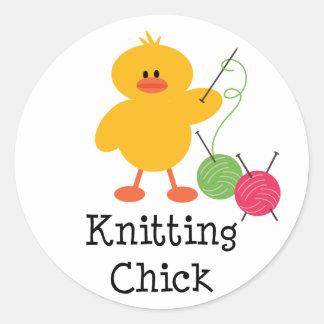 Knitting Chick Stickers