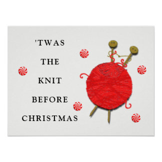 knitting Christmas Poster