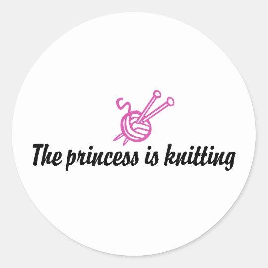 Knitting Classic Round Sticker