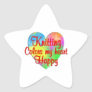 Knitting Colors My Heart Happy Star Sticker