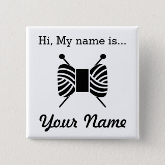 Knitting Craft Party Name Tag Pinback Button