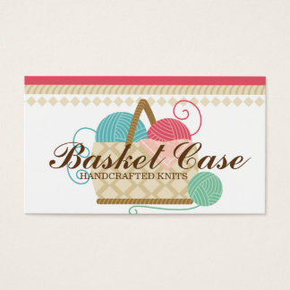 Knitting crochet yarn basket crafts hobbies business card