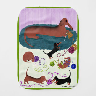 Knitting Dachshund Burp Cloth