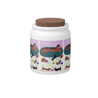 Knitting Dachshund Candy Jar