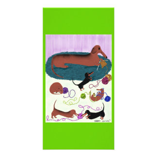 Knitting Dachshund Card