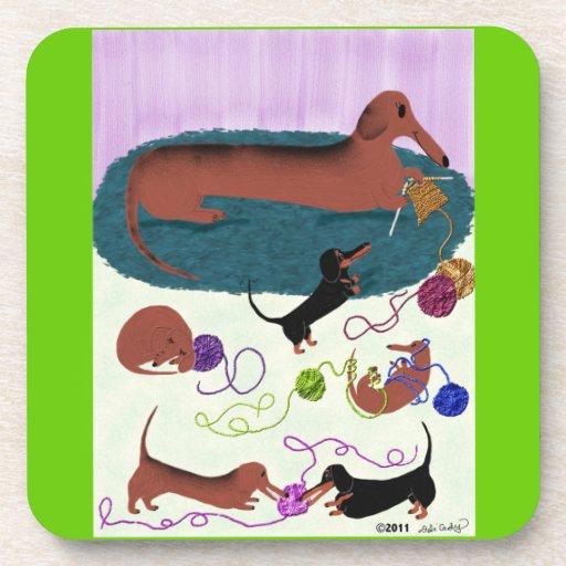 Knitting Dachshund Coaster