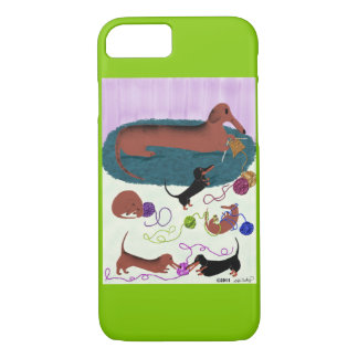 Knitting Dachshund iPhone 7 Case
