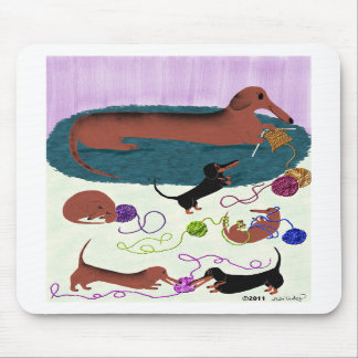 Knitting Dachshund Mousepad