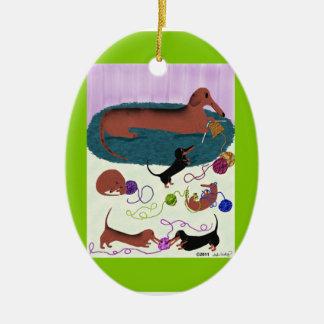 Knitting Dachshund Ornament - Ceramic Oval