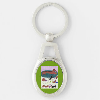 Knitting Dachshund Silver-Colored Oval Metal Keychain
