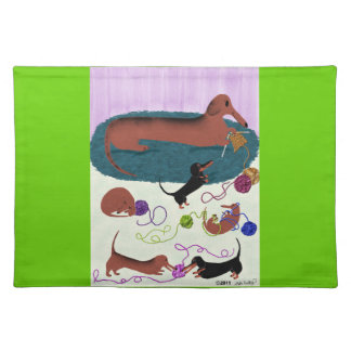 Knitting Dachshund Placemat Cloth Placemat