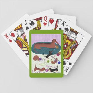 Knitting Dachshund Playing Cards