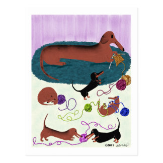 Knitting Dachshund Postcard