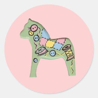 Knitting Dala Horse Sticker