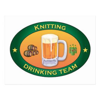 Knitting Drinking Team Post Card