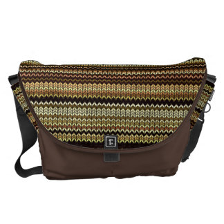 Knitting Effect: Shades of Brown and Beige Courier Bag