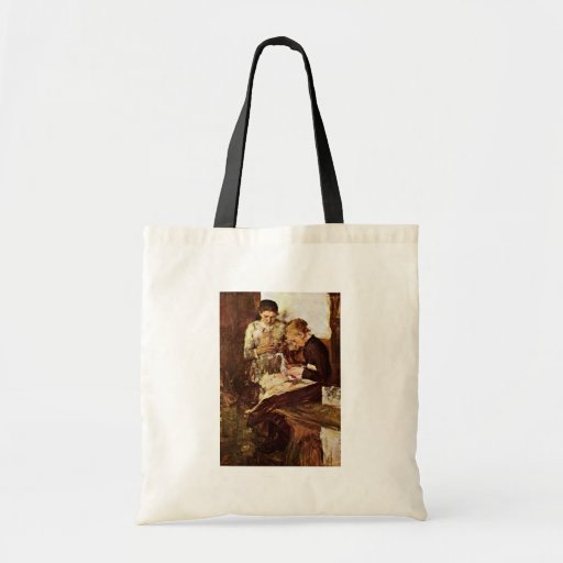 Knitting End Girl On The Bench By Leibl Wilhelm Budget Tote Bag