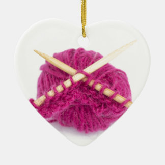 knitting fanatic ceramic ornament
