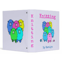 Knitting.  Fluffy sheep and yarn personalized 3 Ring Binder
