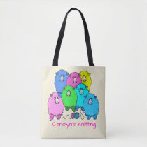 Knitting.  Fluffy sheep and yarn personalized Tote Bag