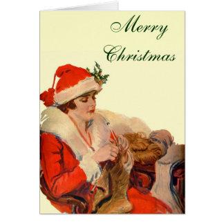 Knitting for Christmas Greeting Card