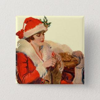 Knitting for Christmas Pinback Button