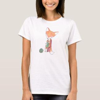 Knitting Fox T-shirt Fox Illustration Graphic Tee