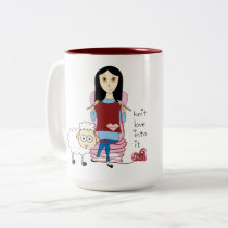 Knitting Girl and sheep Mug