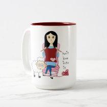 Knitting Girl and sheep Mug
