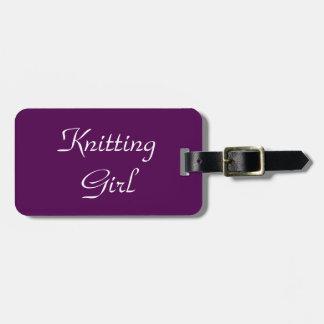 Knitting Girl Bag Tag
