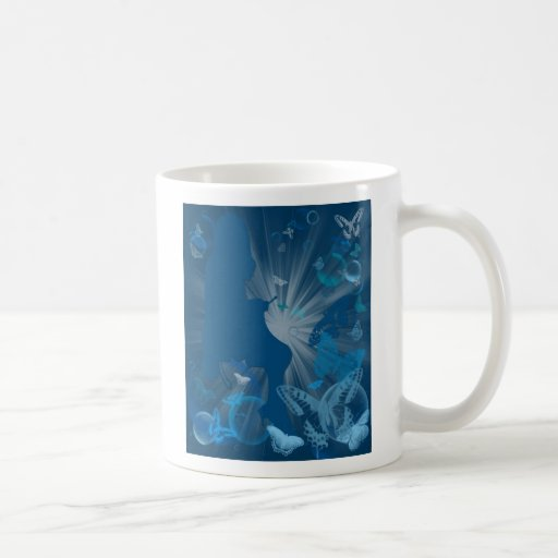 Knitting Girl with Butterflies and Bubbles Mug