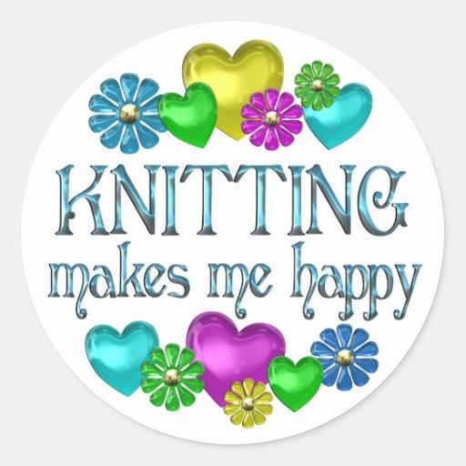 Knitting Happiness Classic Round Sticker