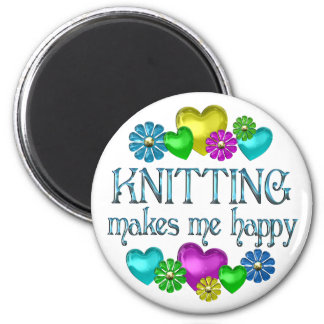 Knitting Happiness 2 Inch Round Magnet