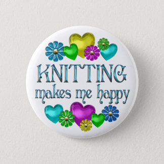 Knitting Happiness Pinback Button