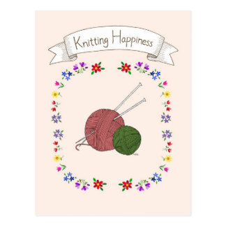 Knitting Happiness Postcard for Knitting Lover