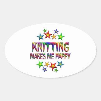 Knitting Happy Oval Sticker