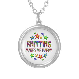 Knitting Happy Silver Plated Necklace