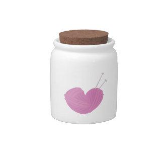 Knitting Heart Candy Jar
