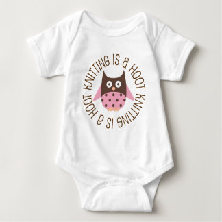 Knitting Is A Hoot Owl Baby Bodysuit