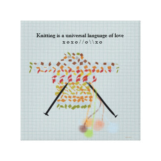 Knitting is a universal language of love canvas print