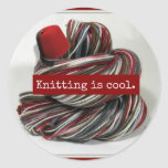 Knitting is Cool Round Sticker